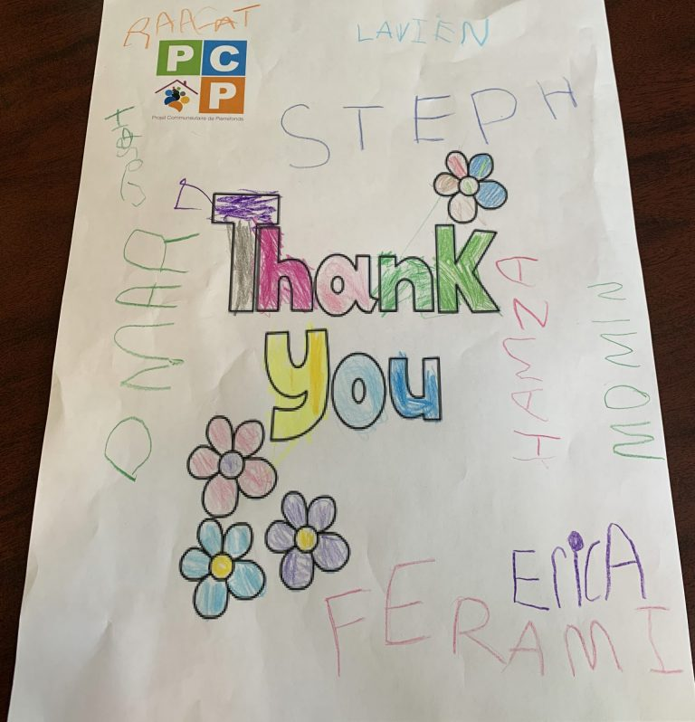 The lovely Thank You letter from the children of PCP.