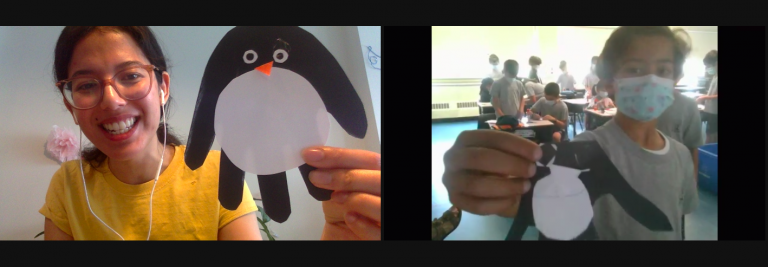 Rana and a student from EMSB showing off their penguins!